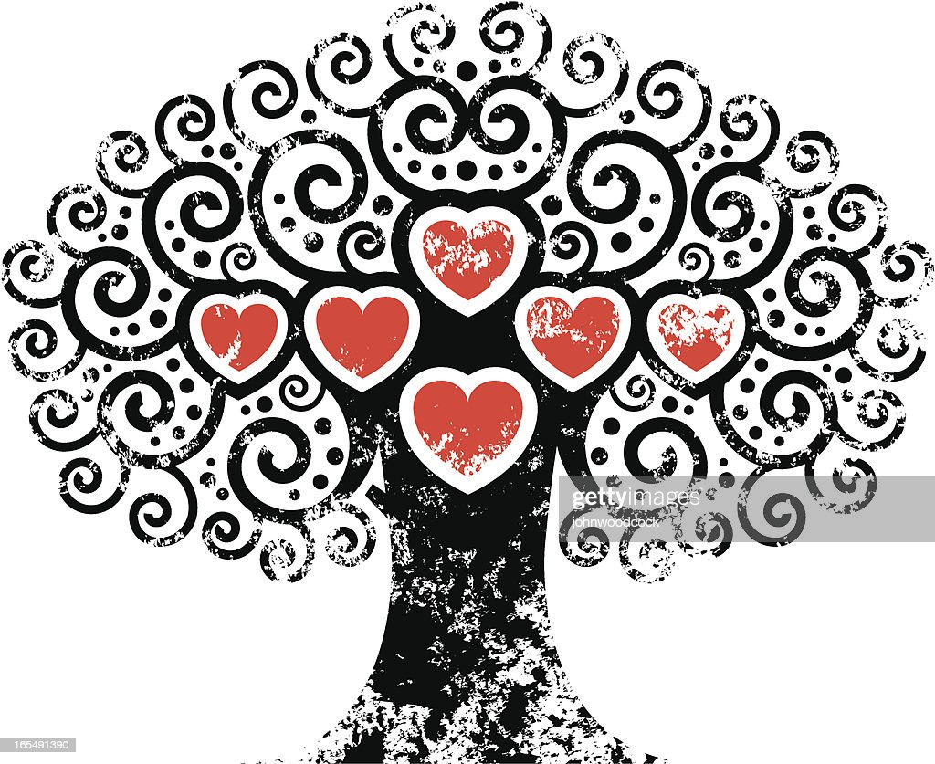 Big grunge heart tree.