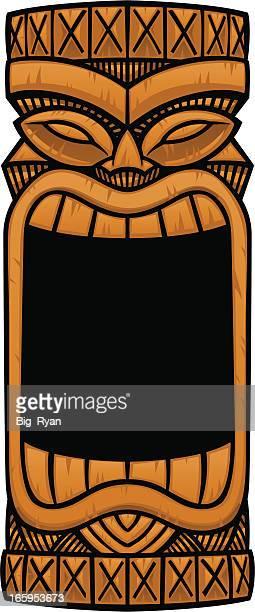 big mouth tiki - hawaiian ethnicity stock illustrations, clip art, cartoons, & icons