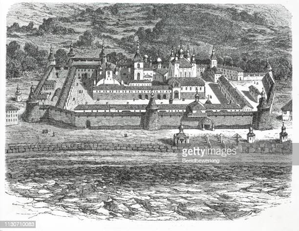 Big Russian Monastery in solowetsk illustration 1873 'the Earth and her People'