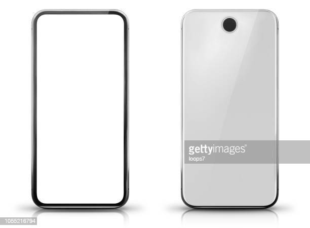 big screen smartphone front and rear view - generic description stock illustrations, clip art, cartoons, & icons