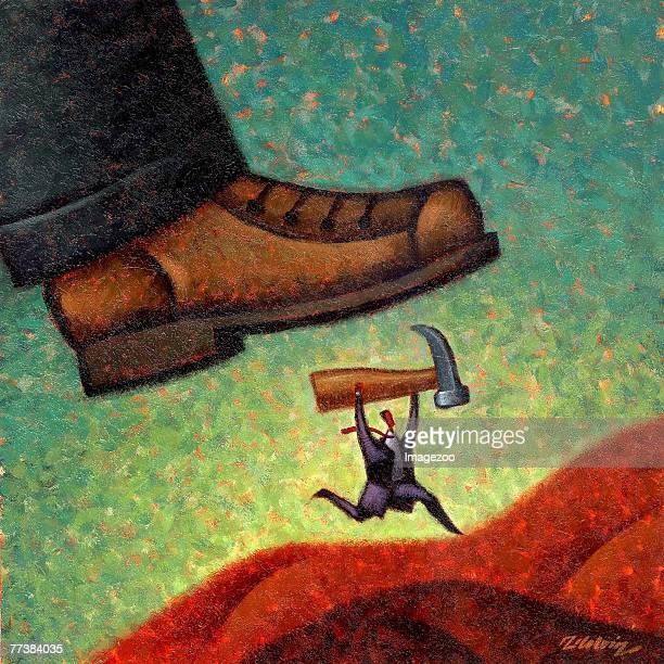 big shoe and little man with hammer - stubborn stock illustrations, clip art, cartoons, & icons