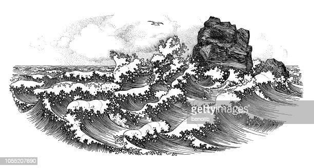 big waves - engraved image stock illustrations