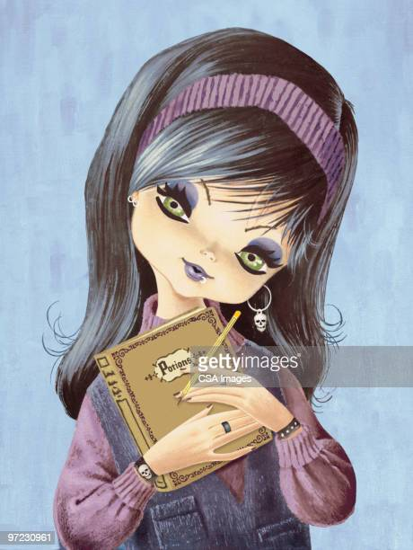 big-eyed girl goes goth - goth stock illustrations, clip art, cartoons, & icons