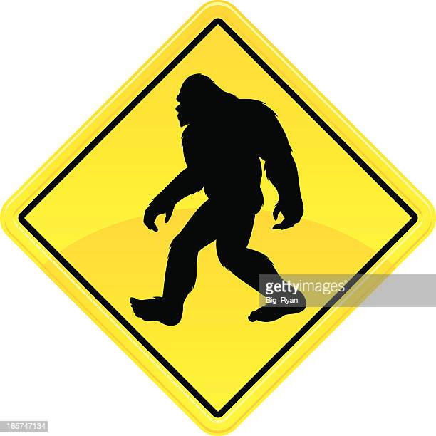 bigfoot crossing sign - bigfoot stock illustrations