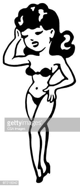 bikini - hourglass stock illustrations