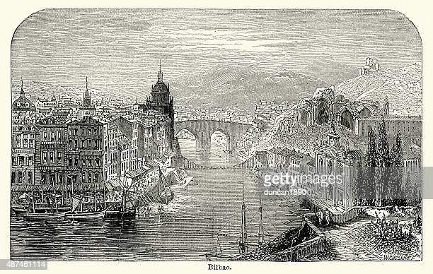 bilbao in the 19th century - en búsqueda stock illustrations
