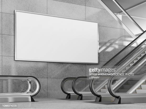 billboard and escalators, illustration - digitally generated image stock illustrations