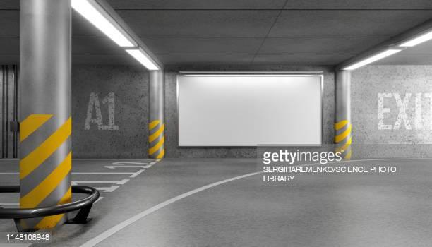 billboard mock-up, illustration - shopping mall stock illustrations