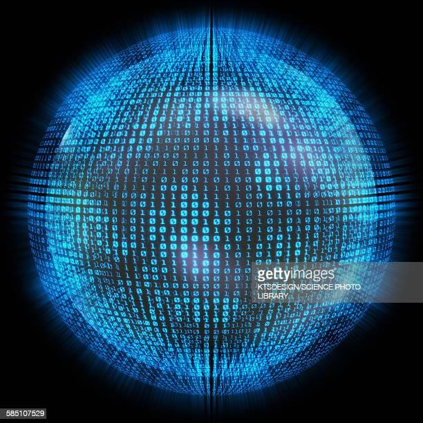 binary code on a sphere, illustration - binary code stock illustrations