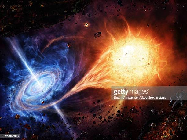 a binary system orbiting near a black hole. - radioactive contamination stock illustrations