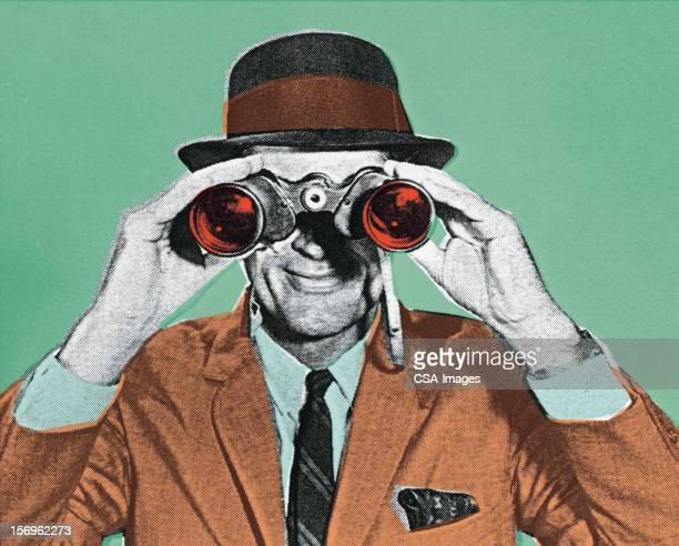 illustrazioni stock, clip art, cartoni animati e icone di tendenza di binocolo - rivolto verso l'obiettivo