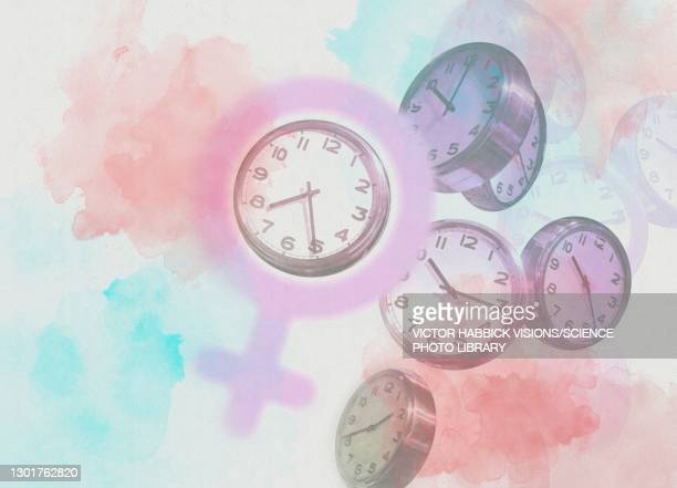 biological clock, conceptual illustration - the ageing process stock illustrations