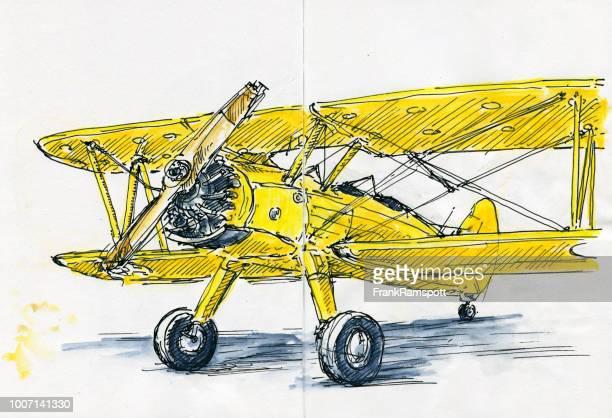 Antique biplan d'encre dessin et aquarelle