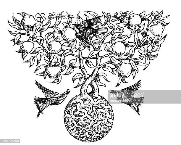 Bird and Apple Tree Motif