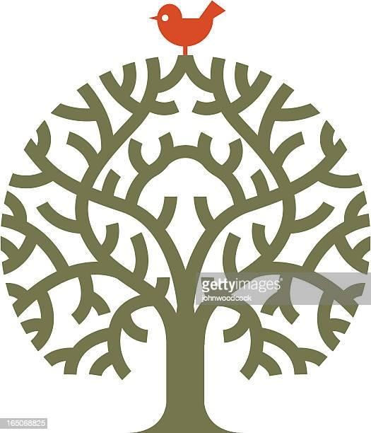 bird bush - family tree stock illustrations, clip art, cartoons, & icons