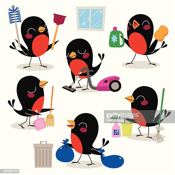 bird cleaning service. - dustpan stock illustrations, clip art, cartoons, & icons