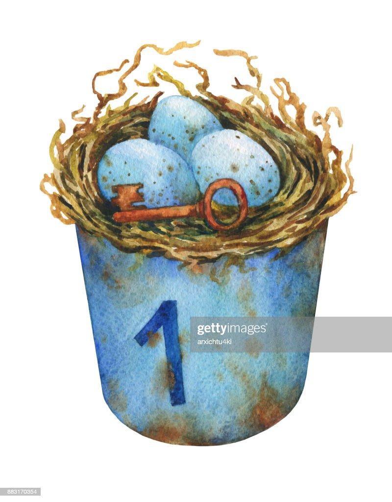 Vogelnest Mit Blauen Eiern In Einem Rostigen Metalleimer
