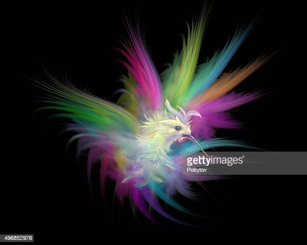 bird of paradise painted on a black background - hummingbird stock illustrations, clip art, cartoons, & icons