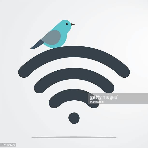Bird on wifi symbol