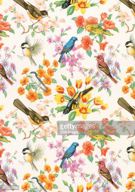 bird pattern - floral pattern stock illustrations