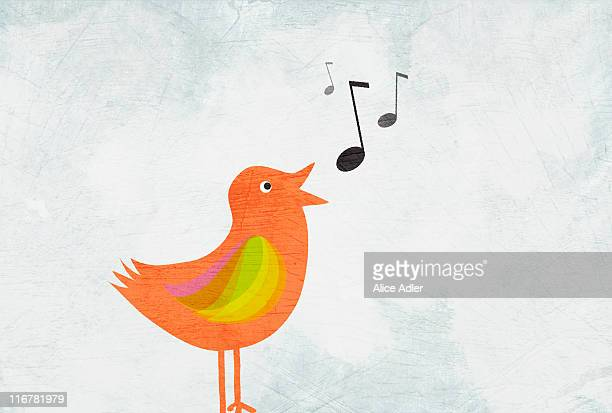 ilustrações de stock, clip art, desenhos animados e ícones de a bird singing - canto de passarinho