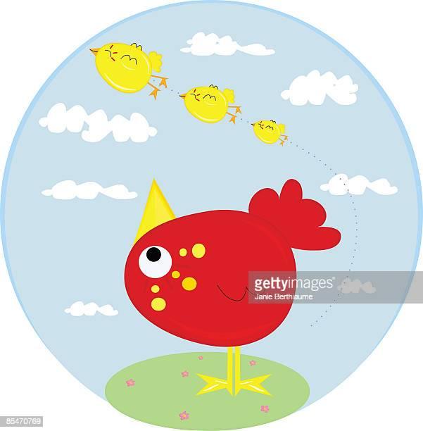 A bird watching other birds fly