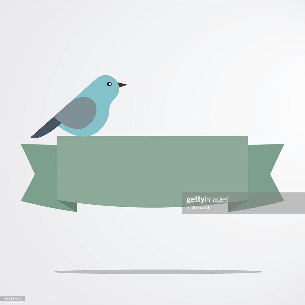 Bird with a banner : stock illustration