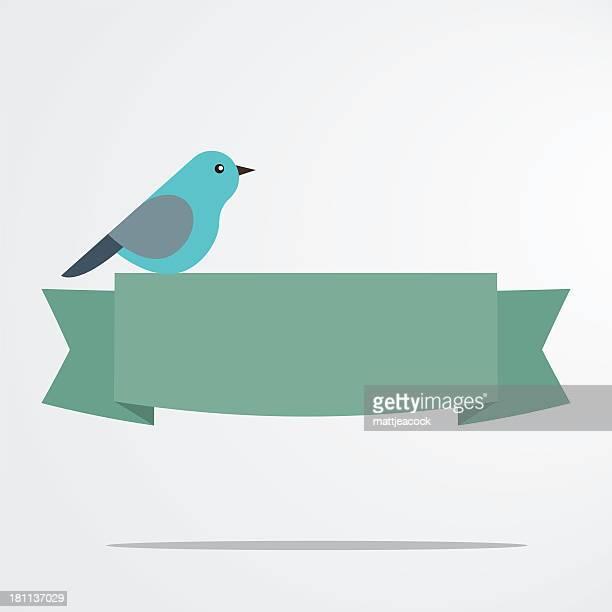 bird with a banner - animal limb stock illustrations, clip art, cartoons, & icons