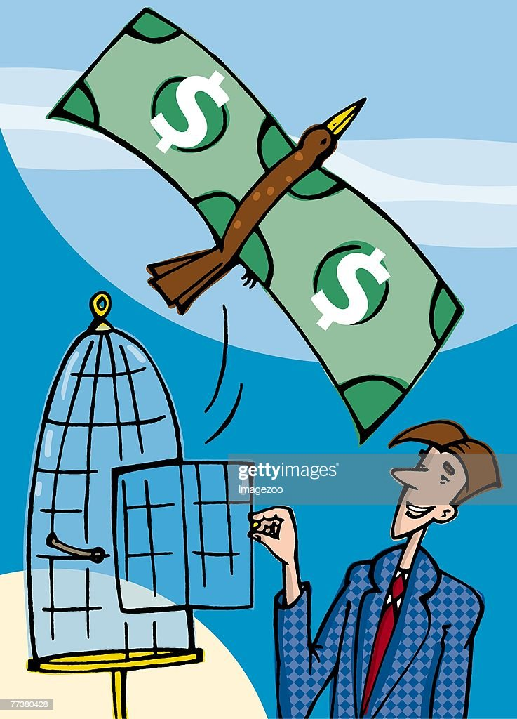 bird with wings made of money flying out of a cage : stock illustration