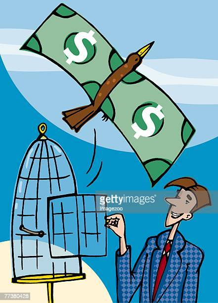 bird with wings made of money flying out of a cage - cash flow stock illustrations, clip art, cartoons, & icons