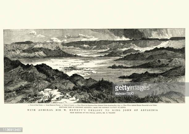 birds eye view of northern abyssinia, hamasan plateau to adowa - ethiopia stock illustrations, clip art, cartoons, & icons