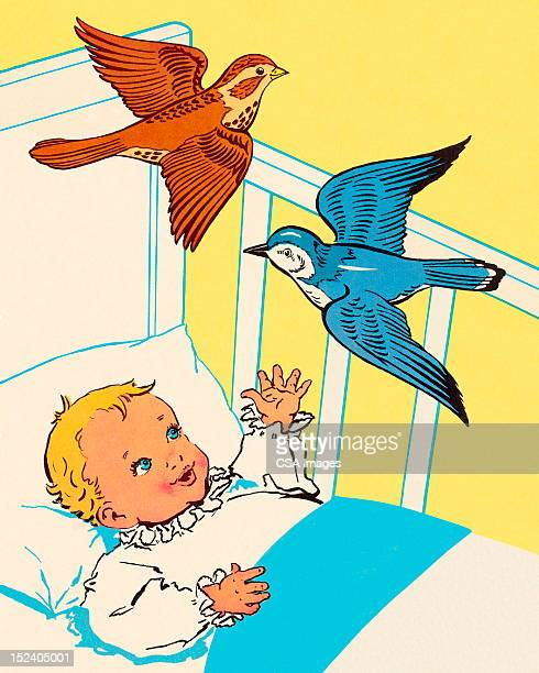 Birds Flying Over Baby's Crib