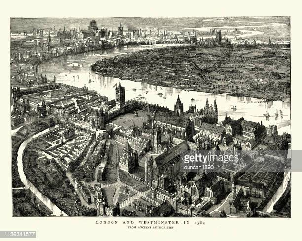 birds-eye view of westminster, london in the 16th century - westminster abbey stock illustrations