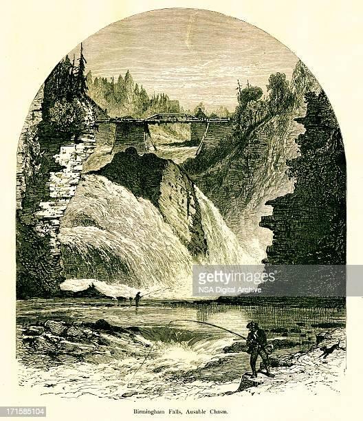 ilustrações, clipart, desenhos animados e ícones de birmingham falls, ausable fosso, nova york, construída 1872 entalhes de madeira () - birmingham alabama