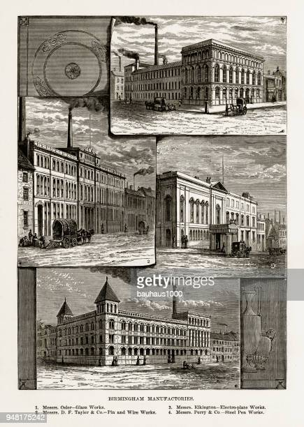 Birmingham Manufactories, Birmingham, Midlands, England Victorian Engraving, 1840