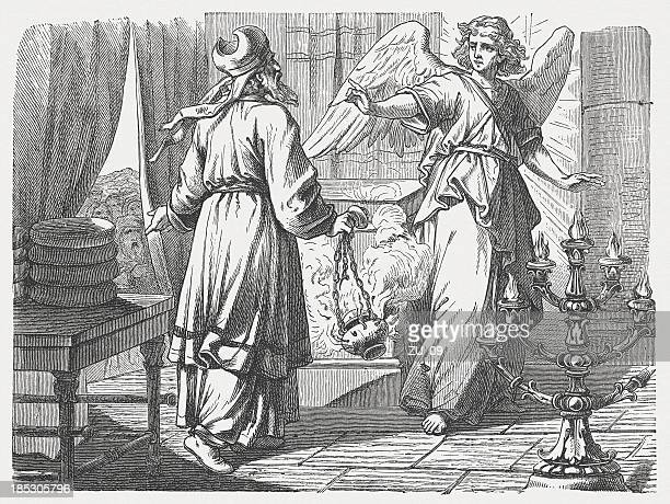 birth announcement of john the baptist (luke 1), published 1877 - annunciation stock illustrations, clip art, cartoons, & icons