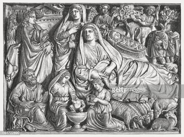 birth of christ, created (1260) by nicola pisano, baptistry, pisa - bas relief stock illustrations