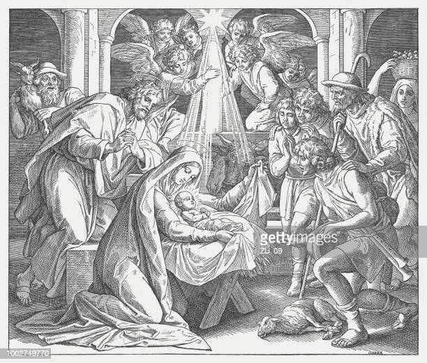birth of christ (luke 2, 15-16), wood engraving, published in 1890 - childbirth stock illustrations