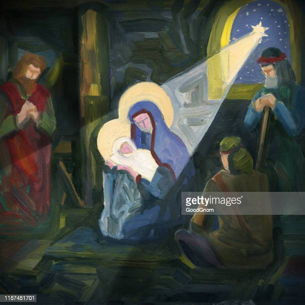 birth of jesus - nativity scene stock illustrations