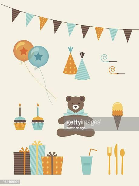 illustrations, cliparts, dessins animés et icônes de anniversaire garçon icônes - anniversaire enfant