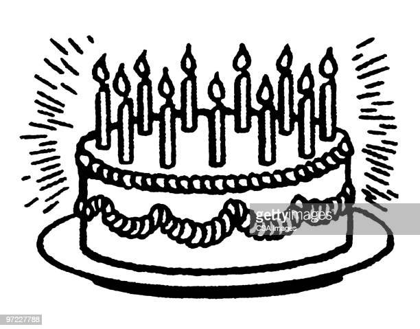 birthday cake - cake stock illustrations
