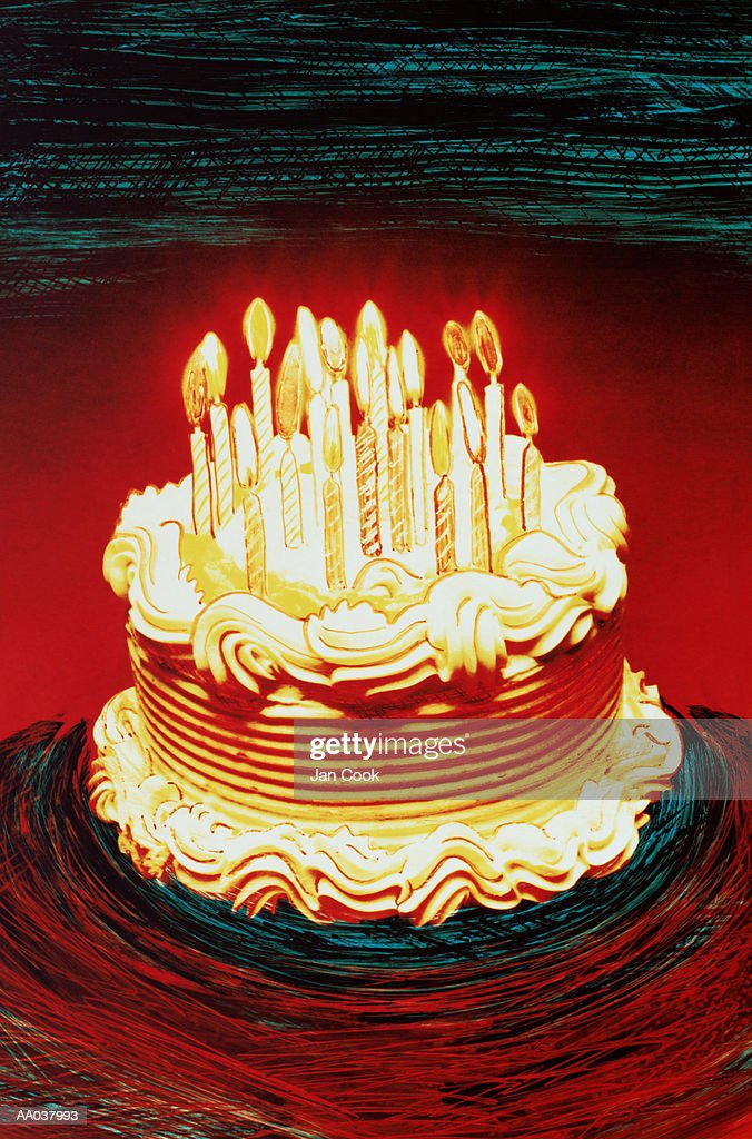 Excellent Birthday Cake With Candles Burning Stockillustraties Getty Images Personalised Birthday Cards Veneteletsinfo