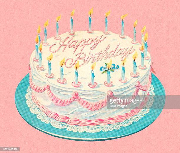 birthday cake with candles - candle stock illustrations, clip art, cartoons, & icons