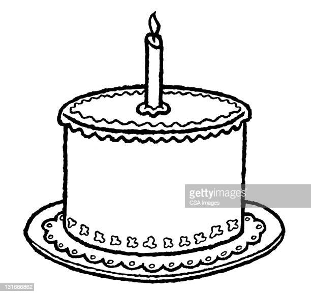 birthday cake with one candle - cake stock illustrations