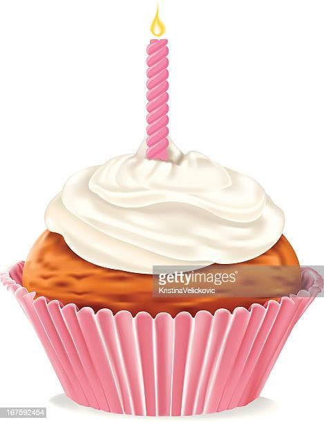 birthday cupcake - icing stock illustrations, clip art, cartoons, & icons