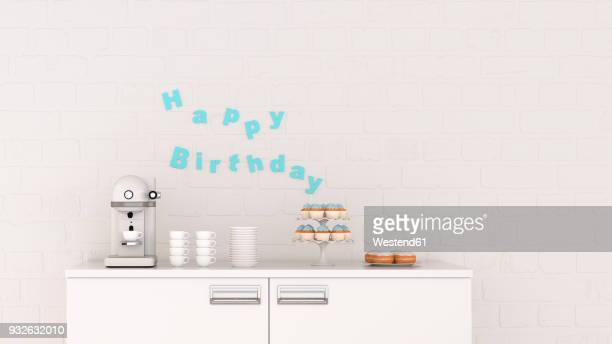 birthday decoration and coffee machine on chest of drawers, 3d rendering - cake stock illustrations