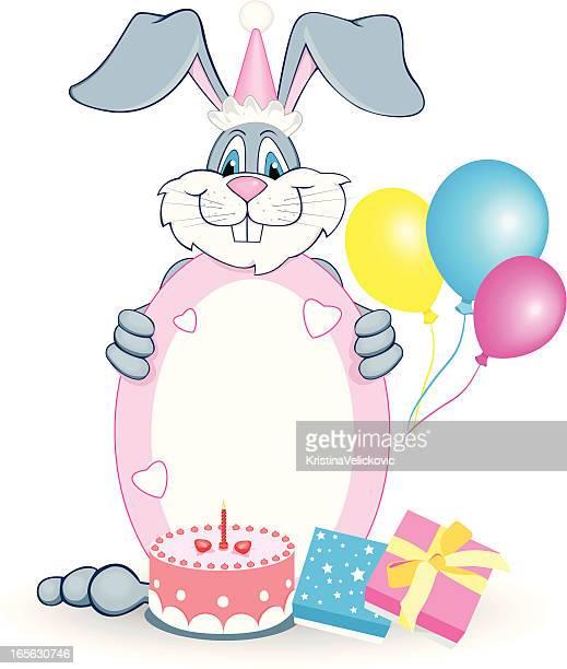 ilustraciones, imágenes clip art, dibujos animados e iconos de stock de cumpleaños de conejo - roscadepascua