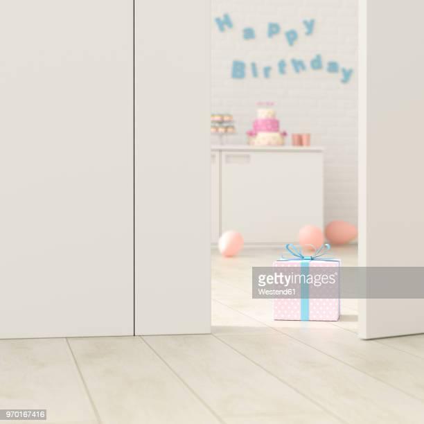 birthday room behind ajar door, 3d rendering - cake stock illustrations