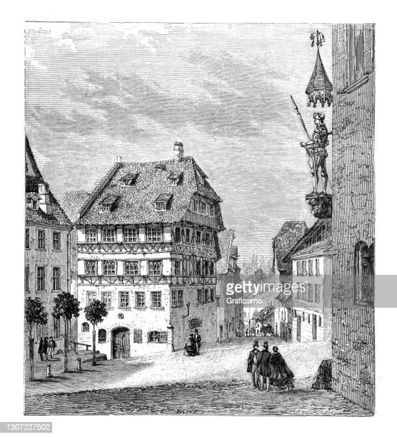 ドイツ・ニュルンベルク・バイエルンのアルブレヒト・デュラーの生家 1864年 - 名作 発祥の地点のイラスト素材/クリップアート素材/マンガ素材/アイコン素材