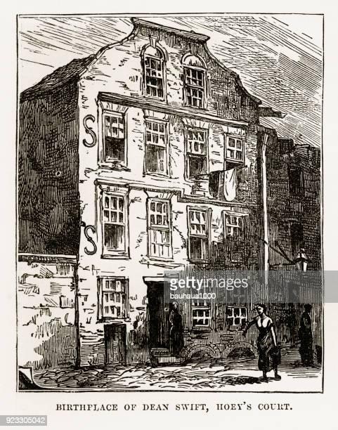 ダブリン、アイルランド ビクトリア朝の彫刻、1840 のディーン ・ スウィフトの発祥の地 - 住宅団地 発祥の地点のイラスト素材/クリップアート素材/マンガ素材/アイコン素材